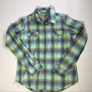 Wrangler Pearl Snap Multicolor Plaid Shirt